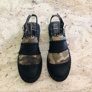 FREE PEOPLE A.S. 98 Camo Black Leather Slip-Ons